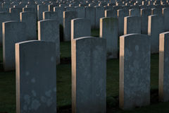 Military gravestones. Rows of gravestones in military cemetery Royalty Free Stock Photography