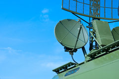Military green antenna on transmitter Stock Photography
