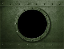 Military green armoured porthole or window metal background Royalty Free Stock Photos