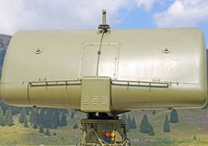 Military green camouflage huge radar for reconnaissance of enemy Royalty Free Stock Image
