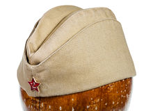 Military green garrison cap with soviet red star Royalty Free Stock Image