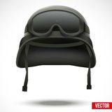 Military green helmet and goggles vector Royalty Free Stock Photo