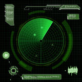 Military green radar. Screen with target. Futuristic HUD interfa Stock Photo