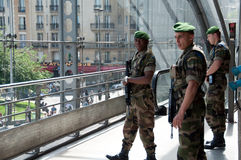 Military Guards in Gare de l'Est in Paris. Stock Images