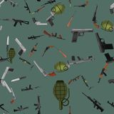 Military gun seamless pattern, automatic and hand weapon. In magazine barrel with bullets for protection shoting or war texture, handgun for hunting and police Stock Photo