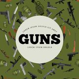 Military gun seamless pattern. Automatic and hand weapon in magazine barrel with bullets for protection shoting or war texture, handgun for hunting and police Royalty Free Stock Images
