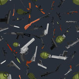 Military gun seamless pattern, automatic and hand weapon in magazine barrel with bullets for protection shoting or war. Texture, handgun for hunting and police Stock Photos