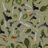 Military gun seamless pattern, automatic and hand weapon in magazine barrel with bullets for protection shoting or war. Texture, handgun for hunting and police Stock Image