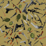 Military gun seamless pattern, automatic and hand weapon in magazine barrel with bullets for protection shoting or war Royalty Free Stock Photo