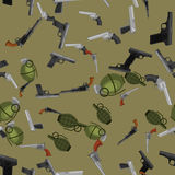 Military gun seamless pattern, automatic and hand weapon in magazine barrel with bullets for protection shoting or war. Texture, handgun for hunting and police Royalty Free Stock Images