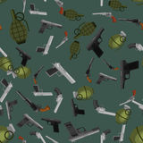 Military gun seamless pattern, automatic and hand weapon in magazine barrel with bullets for protection shoting or war. Texture, handgun for hunting and police Stock Photo