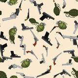 Military gun seamless pattern, automatic and hand weapon in magazine barrel with bullets for protection shoting or war. Texture, handgun for hunting and police Royalty Free Stock Image