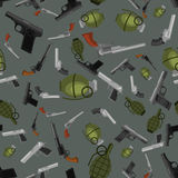 Military gun seamless pattern, automatic and hand weapon in magazine barrel with bullets for protection shoting or war. Texture, handgun for hunting and police Stock Photography