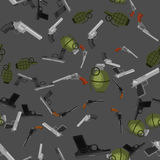 Military gun seamless pattern, automatic and hand weapon in magazine barrel with bullets for protection shoting or war Stock Images
