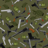 Military gun seamless pattern, automatic and hand weapon in magazine barrel with bullets for protection shoting or war Stock Photography