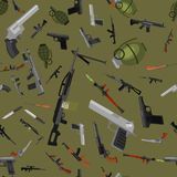 Military gun seamless pattern, automatic and hand weapon in magazine barrel with bullets for protection shoting or war Royalty Free Stock Images