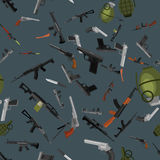 Military gun seamless pattern, automatic and hand weapon in magazine barrel with bullets for protection shoting or war Stock Photos