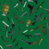 Military gun seamless pattern, automatic and hand weapon in magazine barrel with bullets for protection shoting or war. Texture, handgun for hunting and police Royalty Free Stock Photos