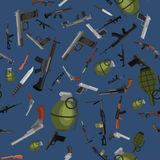 Military gun seamless pattern, automatic and hand weapon in magazine barrel with bullets for protection shoting or war. Texture, handgun for hunting and police Stock Images