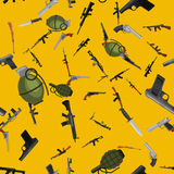 Military gun seamless pattern, automatic and hand weapon in magazine barrel with bullets for protection shoting or war. Texture, handgun for hunting and police Royalty Free Stock Photo
