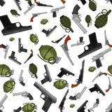 Military gun seamless pattern, automatic and hand weapon in magazine barrel with bullets for protection or war. Texture, handgun for hunting and police Royalty Free Stock Photos