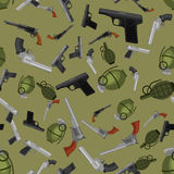 Military gun seamless pattern, automatic and hand weapon in magazine barrel with bullets for protection or war. Texture, handgun for hunting and police Stock Image