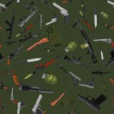Military gun seamless pattern, automatic and hand weapon in magazine barrel with bullets for protection or war Stock Image