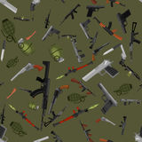 Military gun seamless pattern, automatic and hand weapon in magazine barrel with bullets for protection or war Royalty Free Stock Image