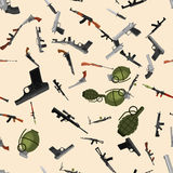 Military gun seamless pattern, automatic and hand weapon in magazine barrel with bullets for protection or war Royalty Free Stock Images