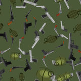 Military gun seamless pattern, automatic and hand weapon in magazine barrel with bullets for protection or war. Texture, handgun for hunting and police Royalty Free Stock Photography