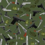 Military gun seamless pattern, automatic and hand weapon. Military gun seamless pattern, automatic and hand weapon in magazine barrel with bullets for Stock Image