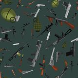 Military gun seamless pattern, automatic. Military gun seamless pattern, automatic and hand weapon in magazine barrel with bullets for protection shoting or Royalty Free Stock Images