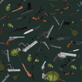 Military gun seamless pattern, automatic. Military gun seamless pattern, automatic and hand weapon in magazine barrel with bullets for protection shoting or Stock Images