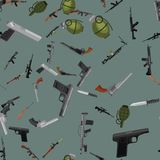 Military gun seamless pattern, automatic. And hand weapon in magazine barrel with bullets for protection shoting or war texture, handgun for hunting and police Stock Photos