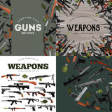 Military gun set, automatic and hand weapon in magazine barrel with bullets for protection shoting or war collection. Handgun for hunting and police equipment Stock Photo