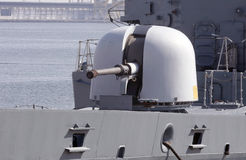 Military gun turret. Grey military warship gun turret royalty free stock photos