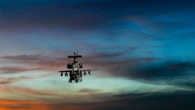 Military gunship flying with dramatic sky Stock Photography