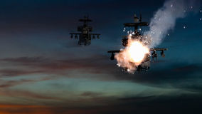 Military gunships being hit by missile and exploding Royalty Free Stock Photos