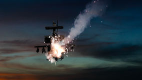Military gunships being hit by missile and exploding Stock Photos