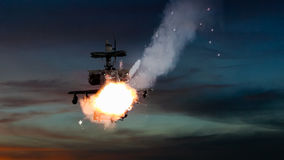 Military gunships being hit by missile and exploding Stock Images