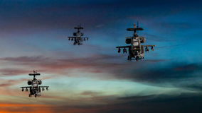 Military gunships flying with dramatic sky Stock Photos