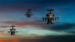 Military gunships flying with dramatic sky Stock Images