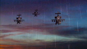 Military gunships flying with dramatic sky Stock Image