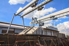 Military gunt boat under construction, supper structure assembly Stock Images