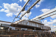 Military gunt boat under construction, supper structure assembly Royalty Free Stock Photography