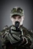Military guy shooting Royalty Free Stock Image