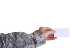 Military hand holding business card Stock Photos