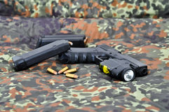 Military handgun with laser/light-module Royalty Free Stock Images
