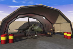 Military hangar. A military hangar with jet fighter Stock Photos