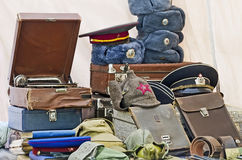 Military hats and antiques Stock Image